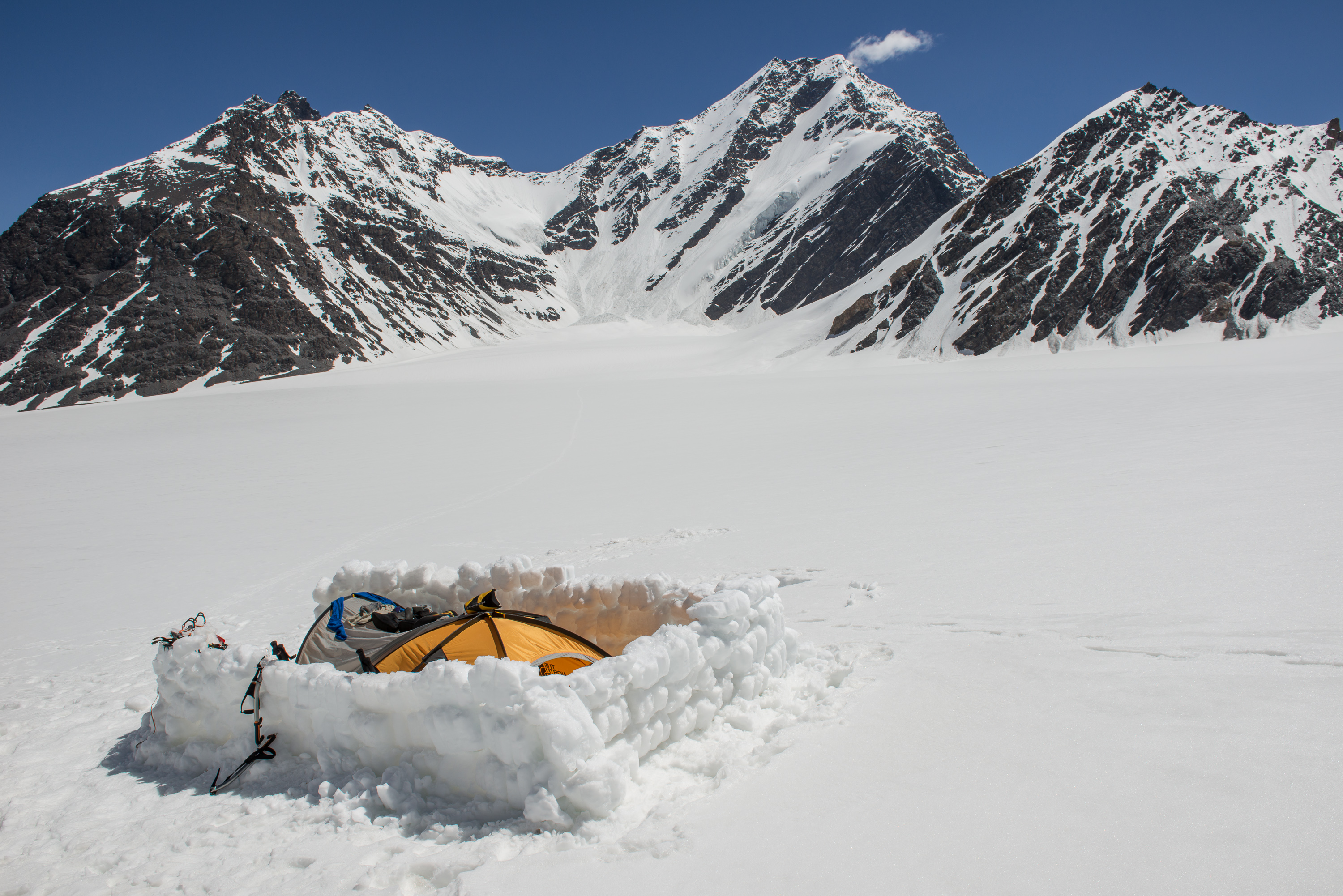 High camp on glacier plateau